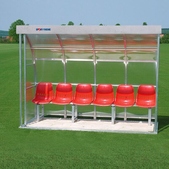 Sport-Thieme® Dugout for 6 People Glazing: polycarbonate, Seat