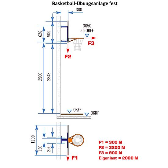 Sport-Thieme® Fixed Basketball Wall Frame Without height adjustment