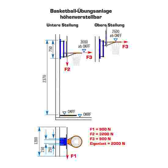 Sport-Thieme Fixed Basketball Wall Frame With height adjustment