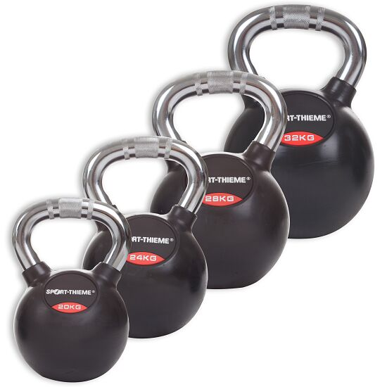 Sport-Thieme Kettlebell Set, Rubbersied with Chrome Handle Heavy
