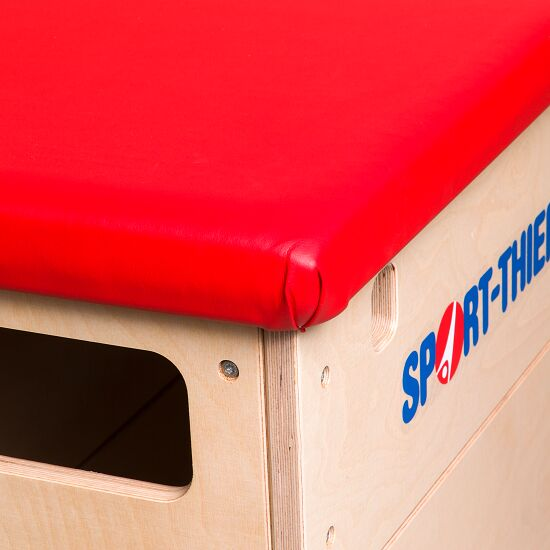 """Sport-Thieme """"Multiplex"""" 4-Part Vaulting Box Without swivel castor kit, Synthetic leather cover, red"""