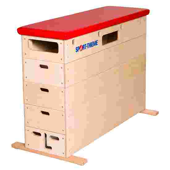 "Sport-Thieme ""Multiplex"" 5-Part Vaulting Box Without swivel castor kit, Synthetic leather cover, red"