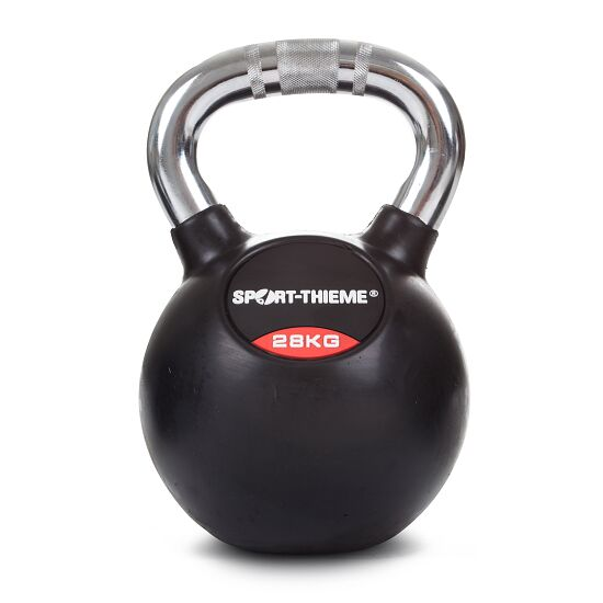 Sport-Thieme Rubberised Kettlebell with Chrome Handle 28 kg