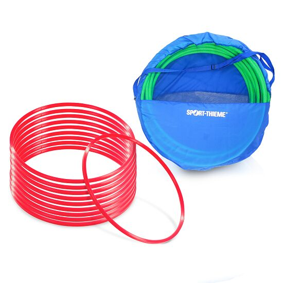"Sport-Thieme Set of ""80-cm-diameter"" Gymnastics Hoops with Storage Bag Gymnastics Hoops Red"