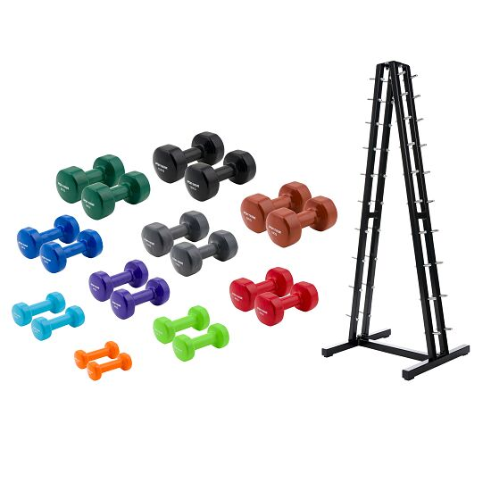 Sport-Thieme® Vinyl Dumbbell Set 1-10 kg, with stand