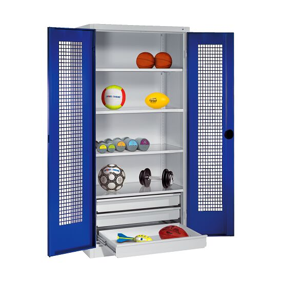 Sports Equipment Cabinet with Drawers, HxWxD 195x120x50 cm, with Perforated Sheet Double Doors Gentian blue (RAL 5010), Light grey (RAL 7035)