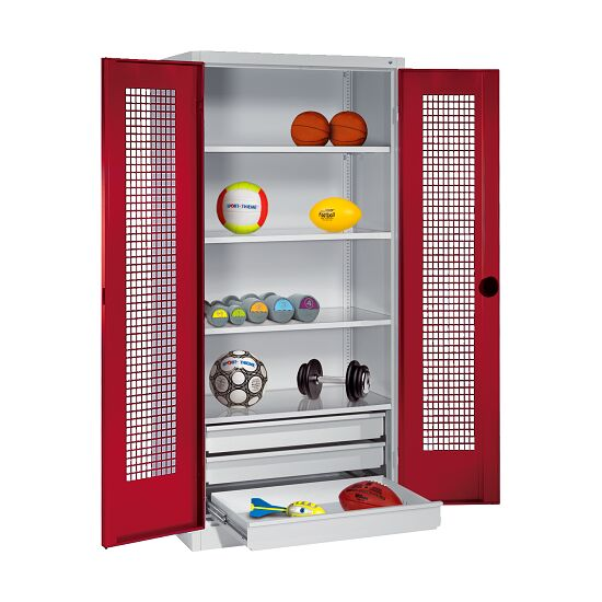 Sports Equipment Cabinet with Drawers, HxWxD 195x120x50 cm, with Perforated Sheet Double Doors Ruby red (RAL 3003), Light grey (RAL 7035)
