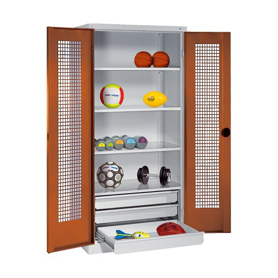 Sports Equipment Cabinet with Drawers, HxWxD 195x120x50 cm, with Perforated Sheet Double Doors Sienna red (RDS 050 40 50), Light grey (RAL 7035)