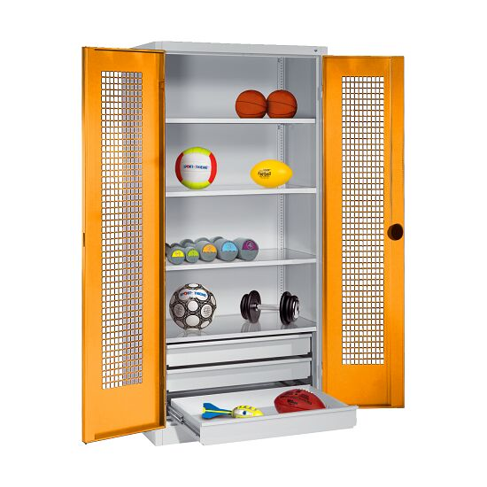 Sports Equipment Cabinet with Drawers, HxWxD 195x120x50 cm, with Perforated Sheet Double Doors Yellow orange (RAL 2000), Light grey (RAL 7035)