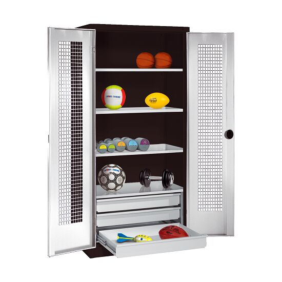 Sports Equipment Cabinet with Drawers, HxWxD 195x120x50 cm, with Perforated Sheet Double Doors Light grey (RAL 7035), Anthracite (RAL 7021)