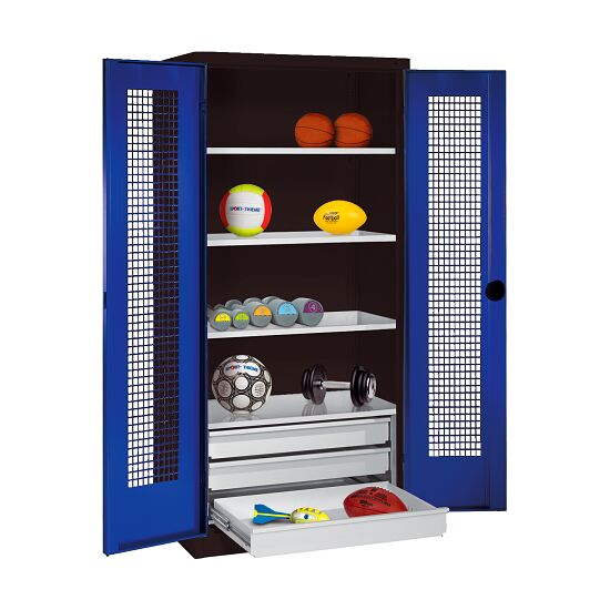 Sports Equipment Cabinet with Drawers, HxWxD 195x120x50 cm, with Perforated Sheet Double Doors Gentian blue (RAL 5010), Anthracite (RAL 7021)