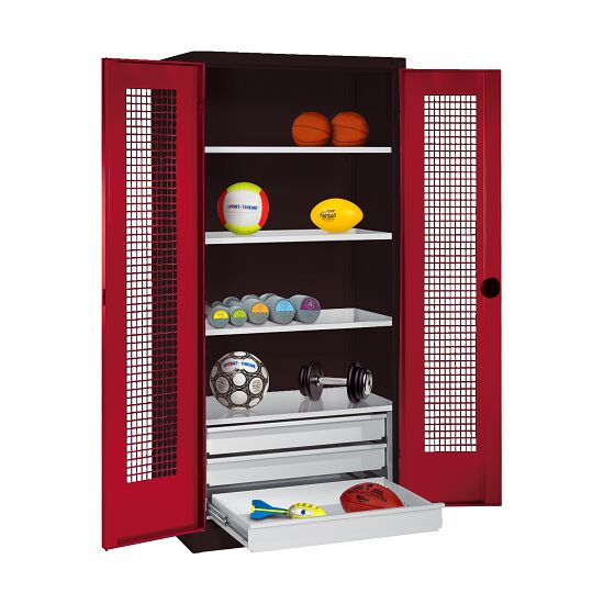 Sports Equipment Cabinet with Drawers, HxWxD 195x120x50 cm, with Perforated Sheet Double Doors Ruby red (RAL 3003), Anthracite (RAL 7021)