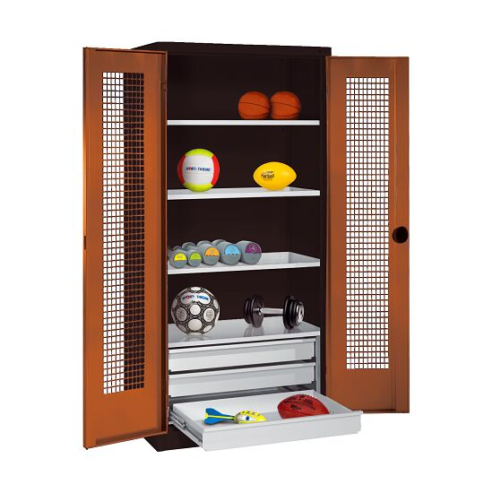 Sports Equipment Cabinet with Drawers, HxWxD 195x120x50 cm, with Perforated Sheet Double Doors Sienna red (RDS 050 40 50), Anthracite (RAL 7021)