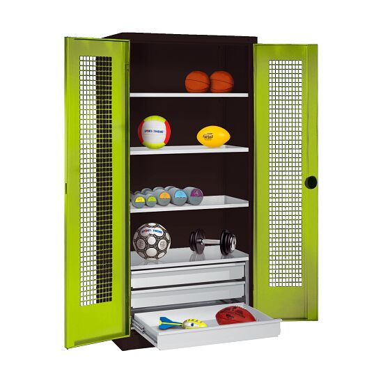 Sports Equipment Cabinet with Drawers, HxWxD 195x120x50 cm, with Perforated Sheet Double Doors Viridian green (RDS 110 80 60), Anthracite (RAL 7021)