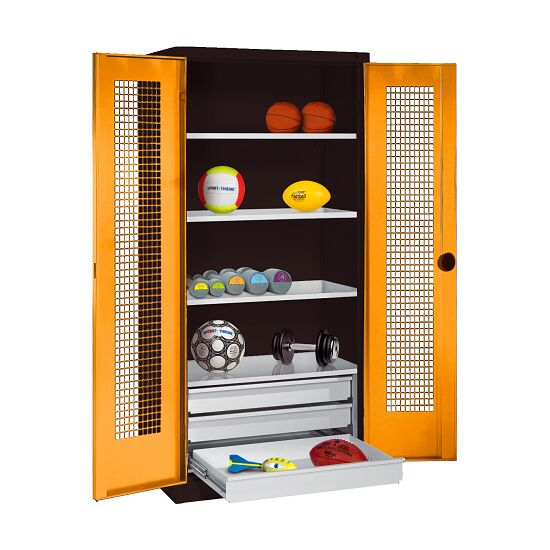 Sports Equipment Cabinet with Drawers, HxWxD 195x120x50 cm, with Perforated Sheet Double Doors Yellow orange (RAL 2000), Anthracite (RAL 7021)