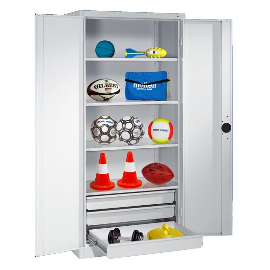 Sports Equipment Cabinet with Drawers, HxWxD 195x120x50 cm, with Sheet Metal Double Doors Light grey (RAL 7035), Light grey (RAL 7035)