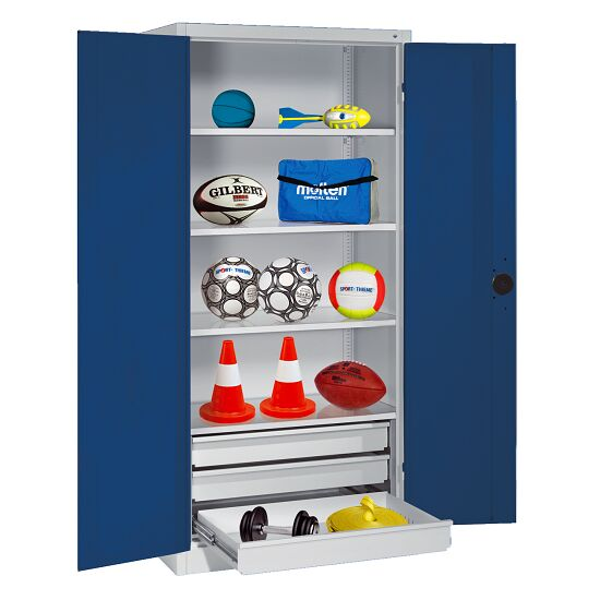 Sports Equipment Cabinet with Drawers, HxWxD 195x120x50 cm, with Sheet Metal Double Doors Gentian blue (RAL 5010), Light grey (RAL 7035)