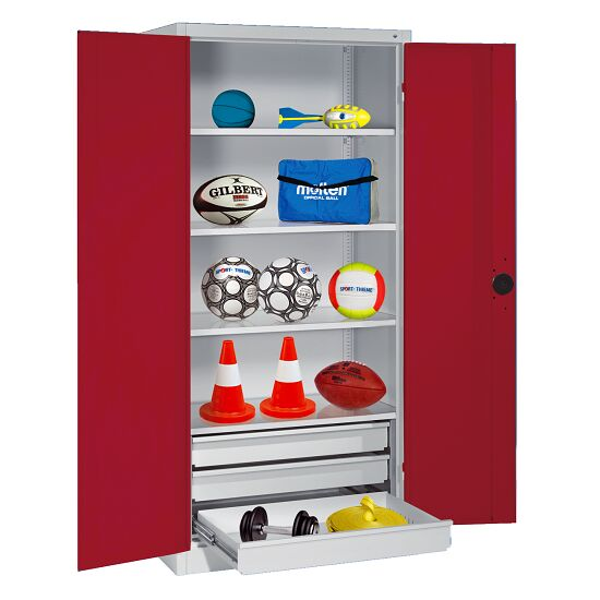 Sports Equipment Cabinet with Drawers, HxWxD 195x120x50 cm, with Sheet Metal Double Doors Ruby red (RAL 3003), Light grey (RAL 7035)