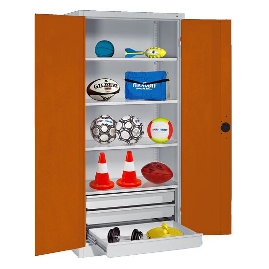 Sports Equipment Cabinet with Drawers, HxWxD 195x120x50 cm, with Sheet Metal Double Doors Sienna red (RDS 050 40 50), Light grey (RAL 7035)