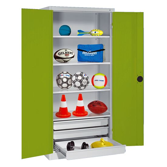 Sports Equipment Cabinet with Drawers, HxWxD 195x120x50 cm, with Sheet Metal Double Doors Viridian green (RDS 110 80 60), Light grey (RAL 7035)