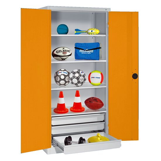 Sports Equipment Cabinet with Drawers, HxWxD 195x120x50 cm, with Sheet Metal Double Doors Yellow orange (RAL 2000), Light grey (RAL 7035)