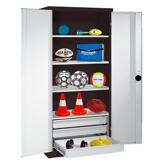 Sports Equipment Cabinet with Drawers, HxWxD 195x120x50 cm, with Sheet Metal Double Doors Light grey (RAL 7035), Anthracite (RAL 7021)