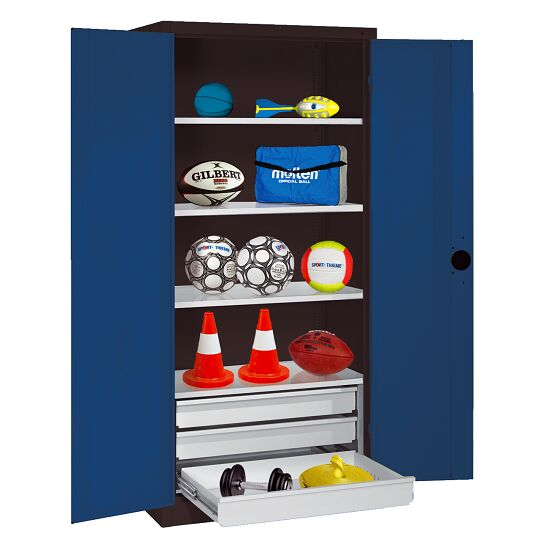 Sports Equipment Cabinet with Drawers, HxWxD 195x120x50 cm, with Sheet Metal Double Doors Gentian blue (RAL 5010), Anthracite (RAL 7021)