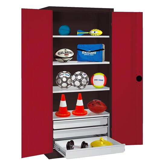 Sports Equipment Cabinet with Drawers, HxWxD 195x120x50 cm, with Sheet Metal Double Doors Ruby red (RAL 3003), Anthracite (RAL 7021)