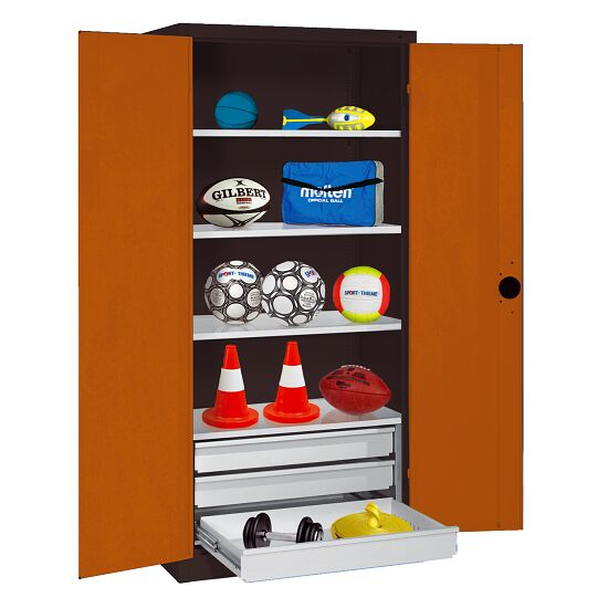 Sports Equipment Cabinet with Drawers, HxWxD 195x120x50 cm, with Sheet Metal Double Doors Sienna red (RDS 050 40 50), Anthracite (RAL 7021)