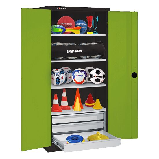 Sports Equipment Cabinet with Drawers, HxWxD 195x120x50 cm, with Sheet Metal Double Doors Viridian green (RDS 110 80 60), Anthracite (RAL 7021)