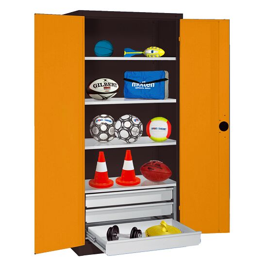 Sports Equipment Cabinet with Drawers, HxWxD 195x120x50 cm, with Sheet Metal Double Doors Yellow orange (RAL 2000), Anthracite (RAL 7021)