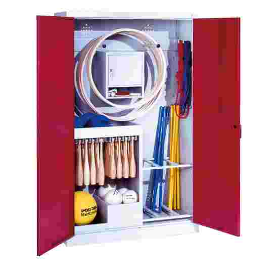 Sports Equipment Locker, HxWxD 195x120x50 cm, with metal double doors (type 1) Ruby red (RAL 3003), Light grey (RAL 7035)