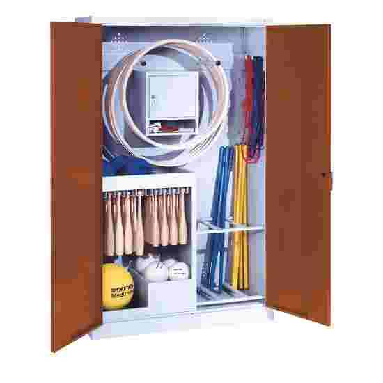 Sports Equipment Locker, HxWxD 195x120x50 cm, with metal double doors (type 1) Sienna red (RDS 050 40 50), Light grey (RAL 7035)