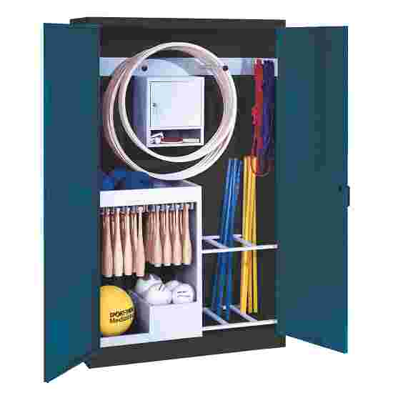 Sports Equipment Locker, HxWxD 195x120x50 cm, with metal double doors (type 1) Gentian blue (RAL 5010), Anthracite (RAL 7021)