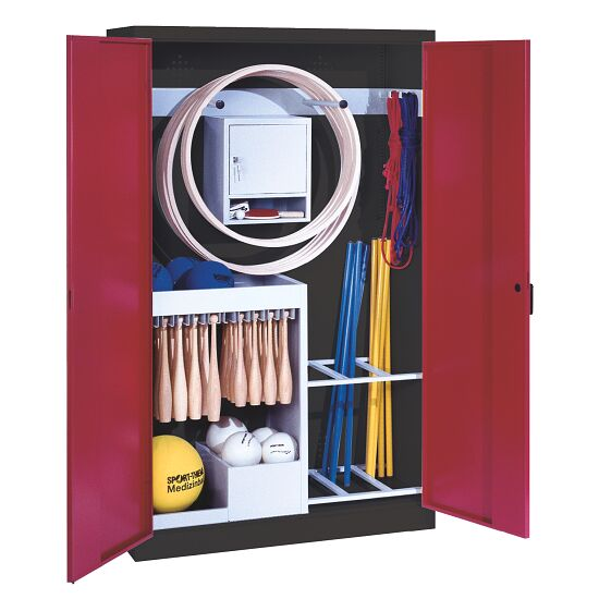 Sports Equipment Locker, HxWxD 195x120x50 cm, with metal double doors (type 1) Ruby red (RAL 3003), Anthracite (RAL 7021)