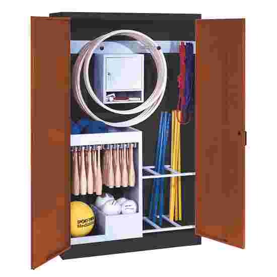 Sports Equipment Locker, HxWxD 195x120x50 cm, with metal double doors (type 1) Sienna red (RDS 050 40 50), Anthracite (RAL 7021)