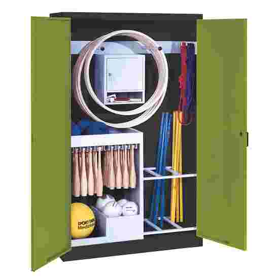 Sports Equipment Locker, HxWxD 195x120x50 cm, with metal double doors (type 1) Viridian green (RDS 110 80 60), Anthracite (RAL 7021)