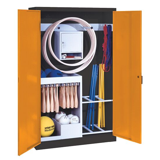 Sports Equipment Locker, HxWxD 195x120x50 cm, with metal double doors (type 1) Yellow orange (RAL 2000), Anthracite (RAL 7021)