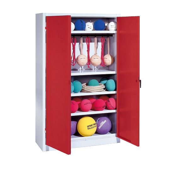 Sports Equipment Locker, HxWxD 195x120x50 cm, with metal double doors (type 2) Ruby red (RAL 3003), Light grey (RAL 7035)