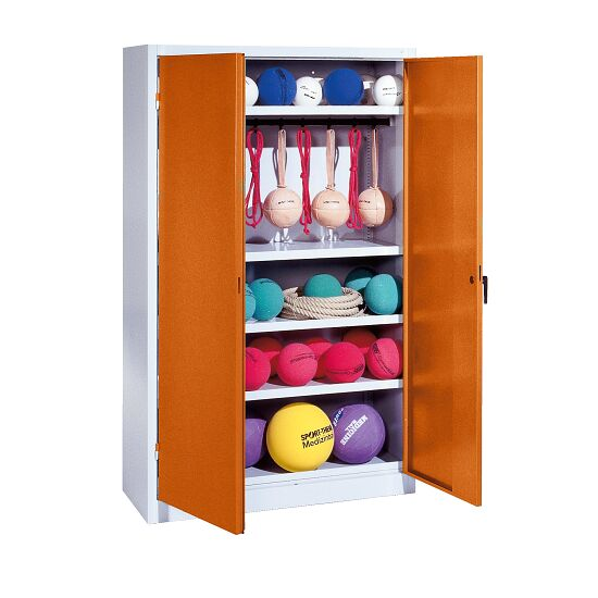 Sports Equipment Locker, HxWxD 195x120x50 cm, with metal double doors (type 2) Sienna red (RDS 050 40 50), Light grey (RAL 7035)