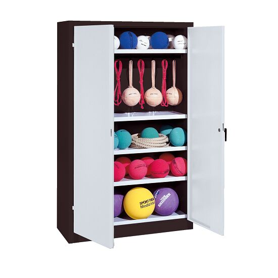 Sports Equipment Locker, HxWxD 195x120x50 cm, with metal double doors (type 2) Light grey (RAL 7035), Anthracite (RAL 7021)