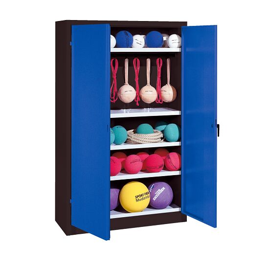 Sports Equipment Locker, HxWxD 195x120x50 cm, with metal double doors (type 2) Gentian blue (RAL 5010), Anthracite (RAL 7021)
