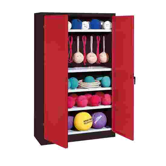 Sports Equipment Locker, HxWxD 195x120x50 cm, with metal double doors (type 2) Ruby red (RAL 3003), Anthracite (RAL 7021)