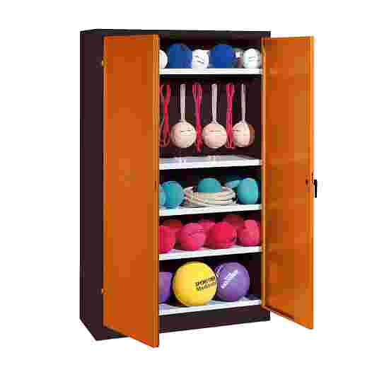 Sports Equipment Locker, HxWxD 195x120x50 cm, with metal double doors (type 2) Sienna red (RDS 050 40 50), Anthracite (RAL 7021)