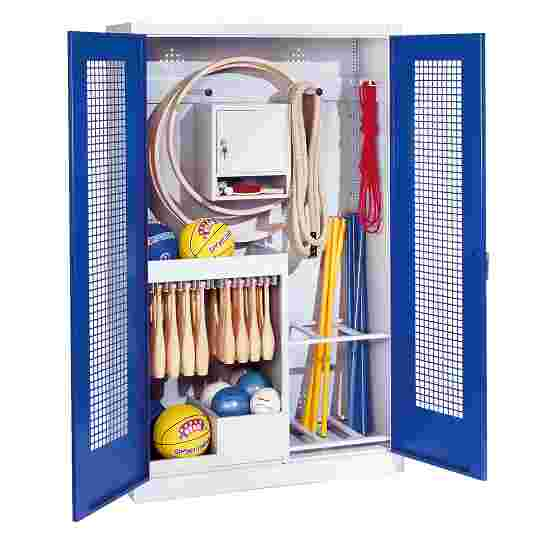 Sports Equipment Locker, HxWxD 195x120x50 cm, with perforated metal double doors (type 1) Gentian blue (RAL 5010), Light grey (RAL 7035)
