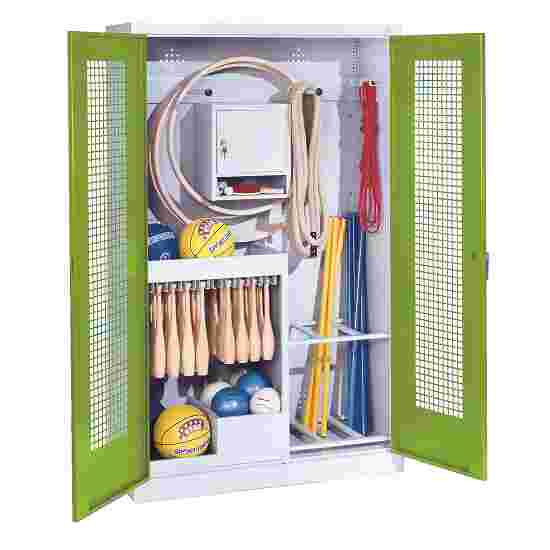 Sports Equipment Locker, HxWxD 195x120x50 cm, with perforated metal double doors (type 1) Viridian green (RDS 110 80 60), Light grey (RAL 7035)