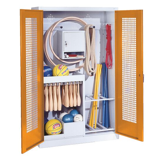 Sports Equipment Locker, HxWxD 195x120x50 cm, with perforated metal double doors (type 1) Yellow orange (RAL 2000), Light grey (RAL 7035)