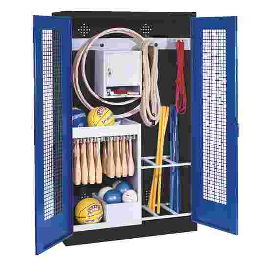 Sports Equipment Locker, HxWxD 195x120x50 cm, with perforated metal double doors (type 1) Gentian blue (RAL 5010), Anthracite (RAL 7021)