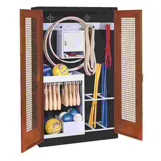 Sports Equipment Locker, HxWxD 195x120x50 cm, with perforated metal double doors (type 1) Sienna red (RDS 050 40 50), Anthracite (RAL 7021)