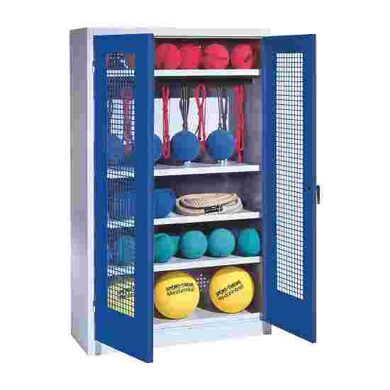 Sports Equipment Locker, HxWxD 195x120x50 cm, with perforated metal double doors (type 2) Gentian blue (RAL 5010), Light grey (RAL 7035)